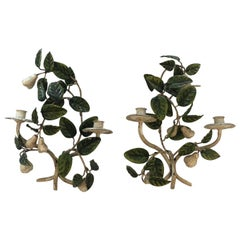 Lovely Pair of Tole and Iron Painted Pear and Leafy Wall Sconces