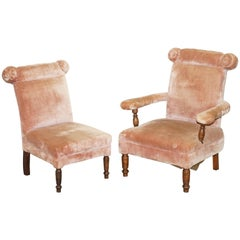 Lovely Pair of Victorian Boudoir Armchairs with Salmon Pink Velour Upholstery