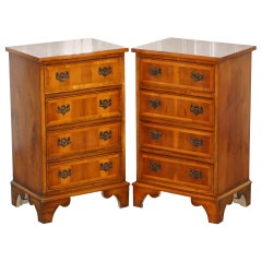 Lovely Pair of Vintage Burr Yew Wood Lamp Side End Wine Table Chest of Drawers