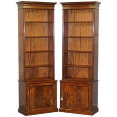 Lovely Pair of Vintage Flamed Mahogany Library Bookcases with Cupboard Bases