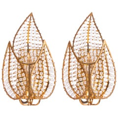 Lovely Pair of Wall Sconces Gold-Plated Brass & Crystal by Palwa, Germany, 1970s
