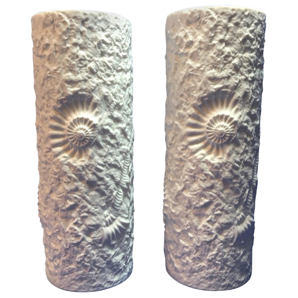Lovely Pair of White Matte Fossil Rock Vases by Kaiser of Germany