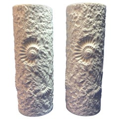 Lovely Pair of White Matte Fossil Rock Vases by Kaiser of Germany