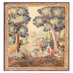 "Lovely Pastoral Silk and Wool Antique French Tapestry. Size: 6' 3"" x 6' 8"""