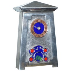 Lovely Pewter and Enamel Art Nouveau Mantle Clock Lovely Decorative Piece
