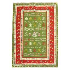 Lovely Pictorial Folk Art Green Turkish Besserabian Kilim Flat Weave