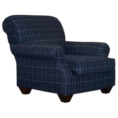 "Lovely Ralph Lauren ""the London Club"" Large Armchair Chequered Blue Upholstery"