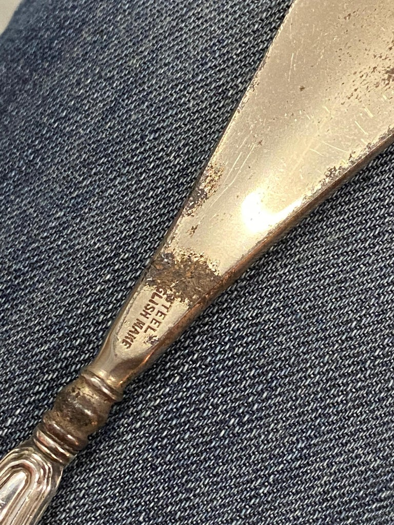 Lovely Rare Antique 1919 Birmingham Sterling Silver Handled Shoe Horn For Sale 5