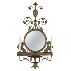 Lovely Regency Style Bronze Mirror with Griffins and Candle Sconces