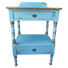 Lovely Robin's Egg Blue and Gilded Vintage Nightstand