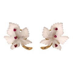 Lovely Rock Crystal Gold and Ruby Leaf Earrings