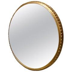 Lovely Round Italian Midcentury Brass Mirror