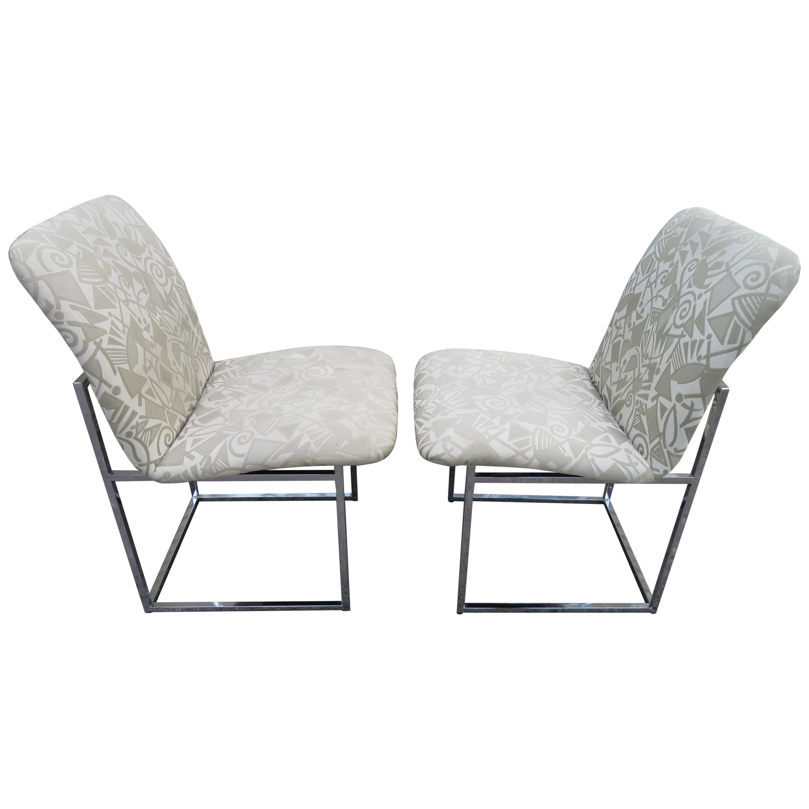 Lovely Set 6 Design Institute of America Chrome Dining Chairs