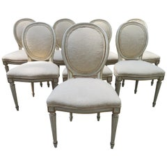 Lovely Set 8 Dorothy Draper style Fluted Leg Dining Chairs Hollywood Regency