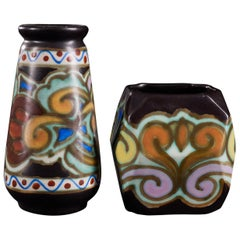 Lovely Set of 2 Quaint Ceramic Vases by C.M. Bereen