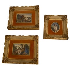 Lovely Set of 3 French Romantic Antique Paintings on Polymer