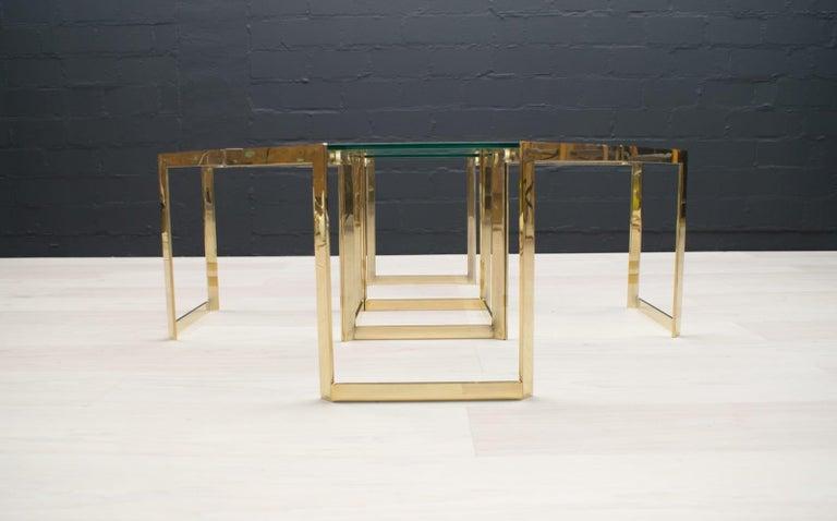Metal Lovely Set of 4 Brass Modular Side Tables, France, 1960s For Sale