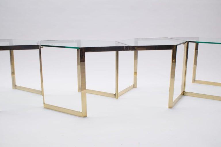 Lovely Set of 4 Brass Modular Side Tables, France, 1960s For Sale 1