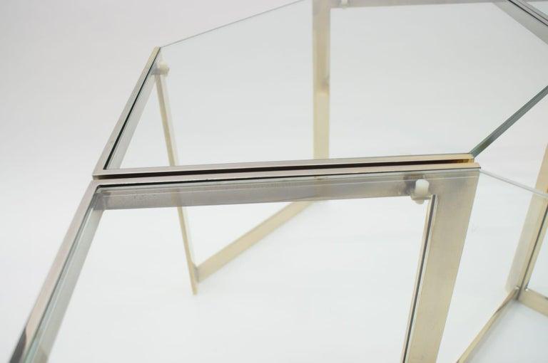 Lovely Set of 4 Brass Modular Side Tables, France, 1960s For Sale 2