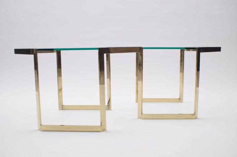 Lovely Set of 4 Brass Modular Side Tables, France, 1960s For Sale 4