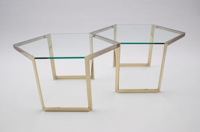 Lovely Set of 4 Brass Modular Side Tables, France, 1960s For Sale 5