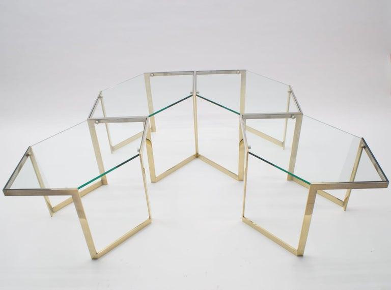 Hollywood Regency Lovely Set of 4 Brass Modular Side Tables, France, 1960s For Sale