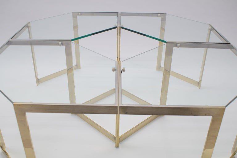 French Lovely Set of 4 Brass Modular Side Tables, France, 1960s For Sale
