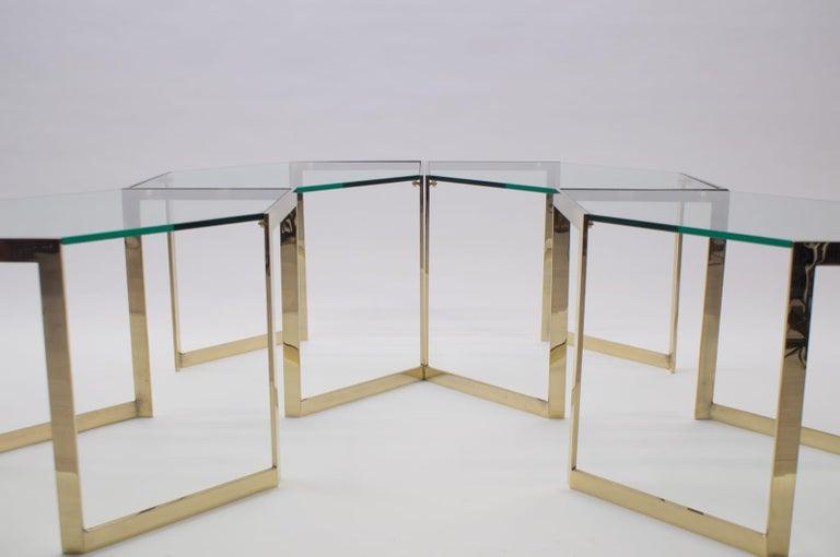 Gilt Lovely Set of 4 Brass Modular Side Tables, France, 1960s For Sale