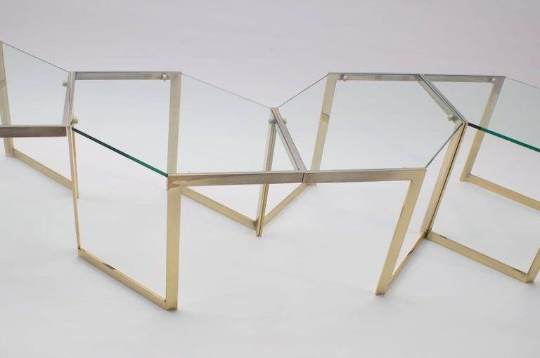 Lovely Set of 4 Brass Modular Side Tables, France, 1960s In Good Condition For Sale In Nürnberg, Bayern