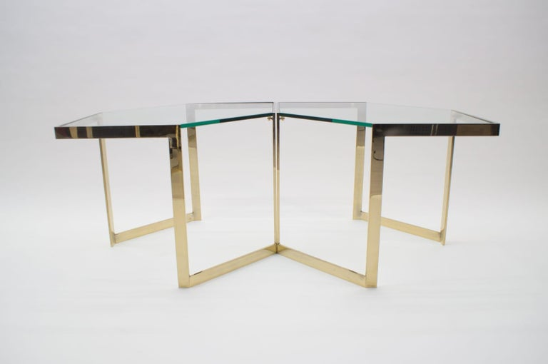 Mid-20th Century Lovely Set of 4 Brass Modular Side Tables, France, 1960s For Sale