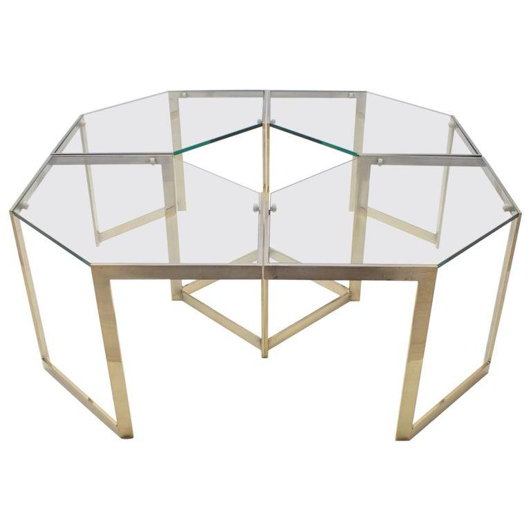 Lovely Set of 4 Brass Modular Side Tables, France, 1960s For Sale