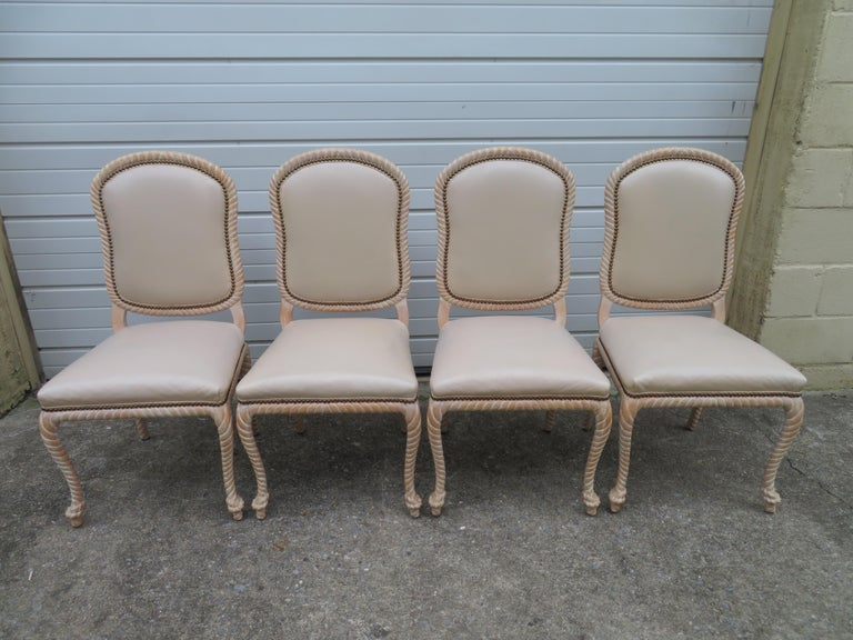 Lovely Set of 4 Vintage Carved Rope Dining Chairs Mid-Century Modern For Sale 6