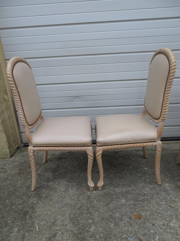 Hollywood Regency Lovely Set of 4 Vintage Carved Rope Dining Chairs Mid-Century Modern For Sale
