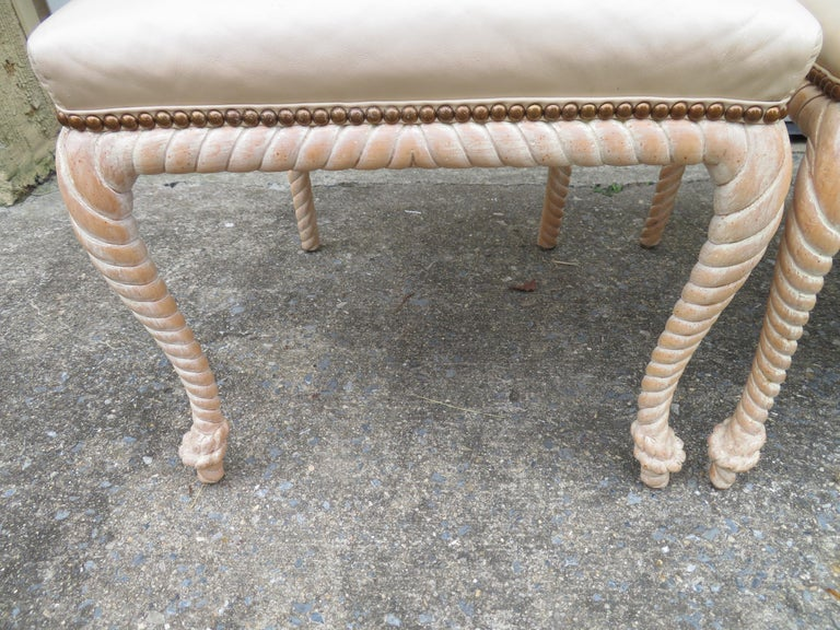 Lovely Set of 4 Vintage Carved Rope Dining Chairs Mid-Century Modern In Good Condition For Sale In Pemberton, NJ