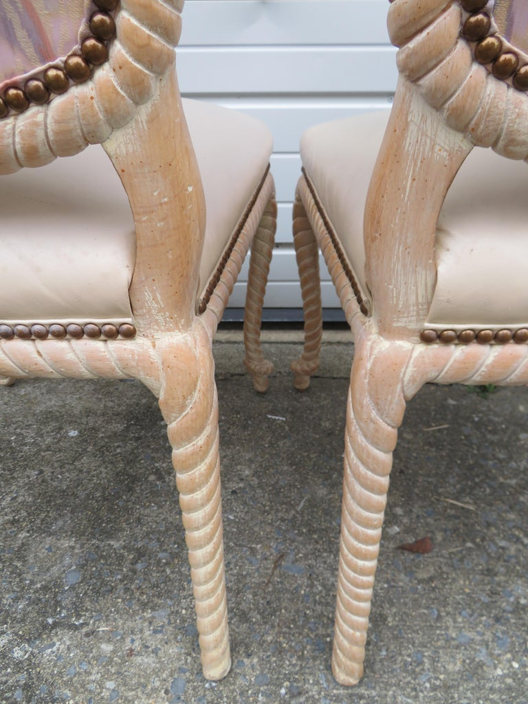 Late 20th Century Lovely Set of 4 Vintage Carved Rope Dining Chairs Mid-Century Modern For Sale