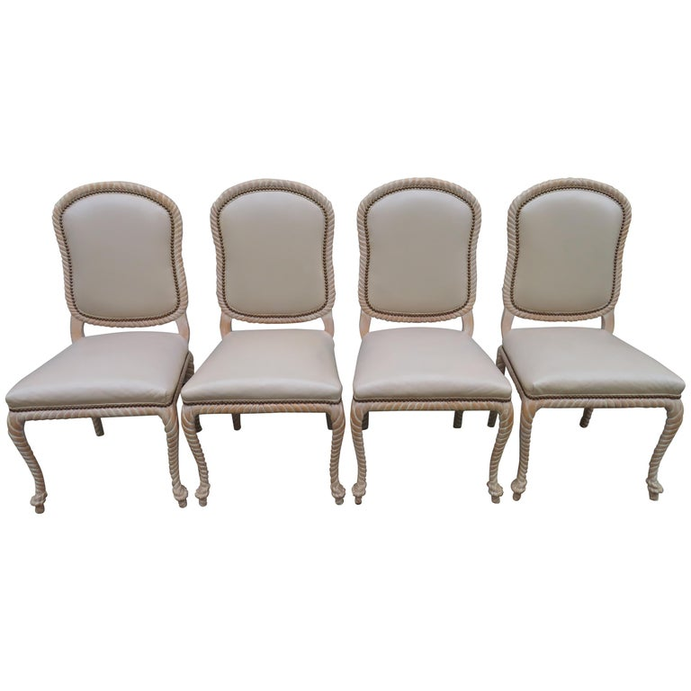 Lovely Set of 4 Vintage Carved Rope Dining Chairs Mid-Century Modern For Sale