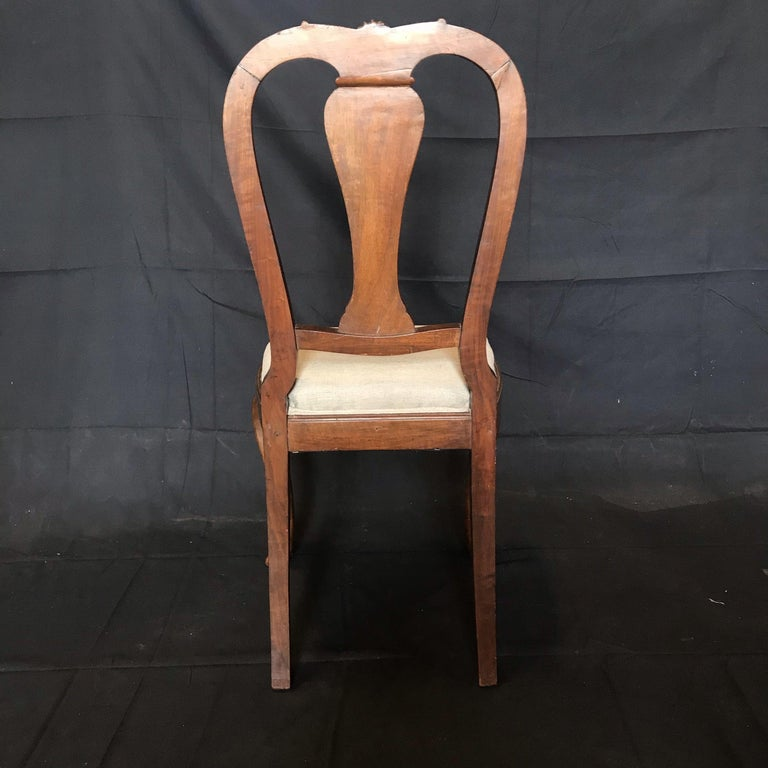 Lovely Set of Four Carved Walnut English Side Dining Chairs For Sale 2