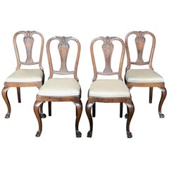 Lovely Set of Four Carved Walnut English Side Dining Chairs