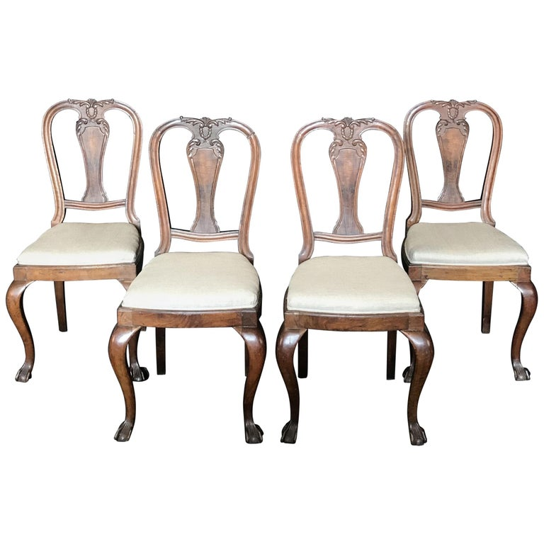 Lovely Set of Four Carved Walnut English Side Dining Chairs For Sale