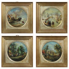 Lovely Set of Four Painting Dutch Winter Landscape in 17th Century Style