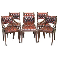 Lovely Set of Six Vintage Chesterfield Mahogany Framed Oxblood Dining Chairs 6