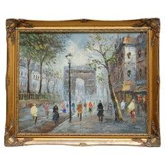 Lovely Signed Pierre Oil Painting of a French Paris Arc De Triomphe Parisian
