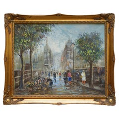 Lovely Signed Pierre Oil Painting of a French Paris Street Scene Parisian Love!