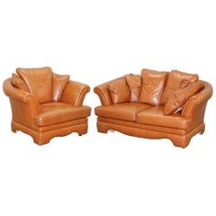 Lovely Small Aged Tan Brown Leather Sofa and Matching Armchair Two-Piece Suite