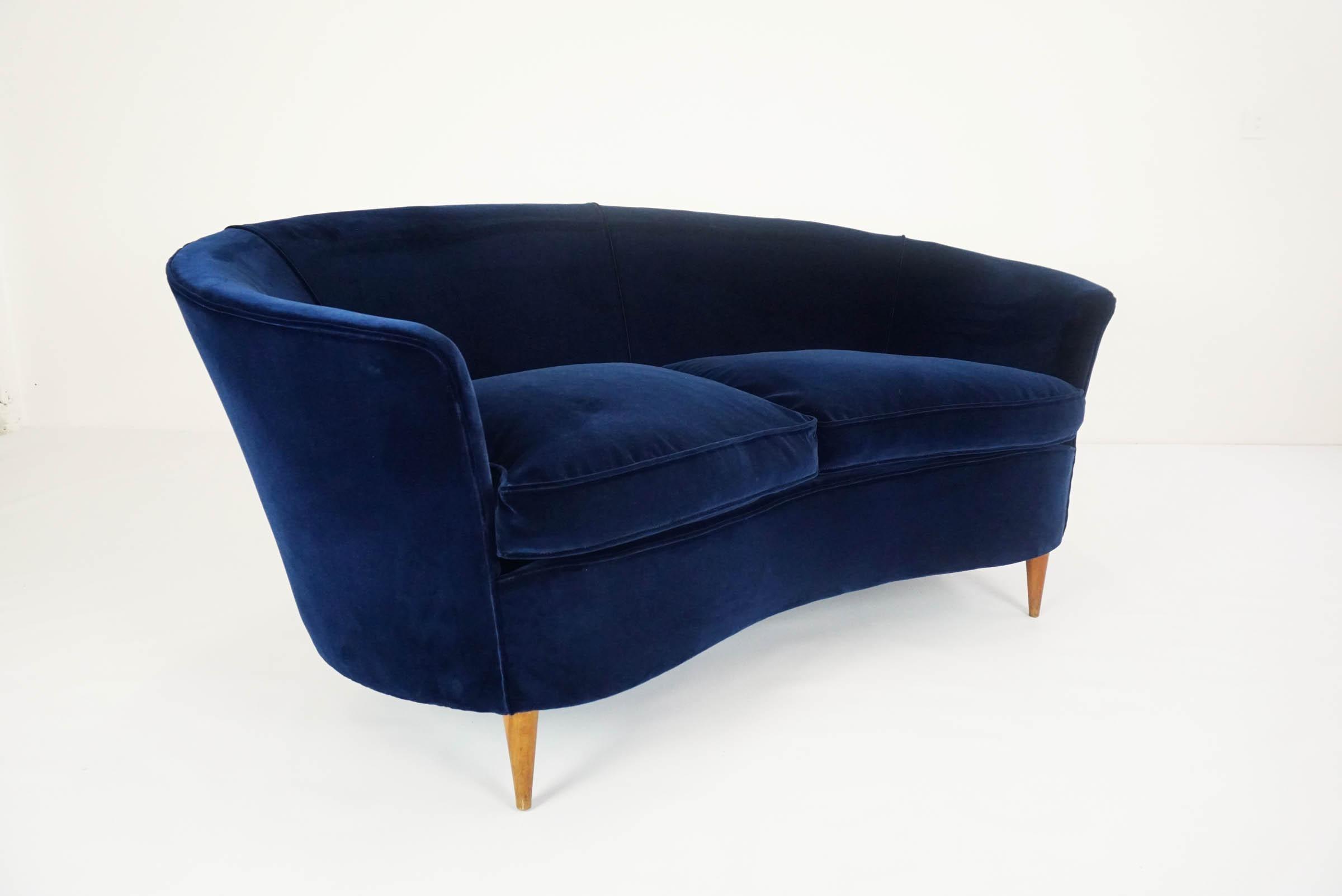 Lovely Small Curved Sofa In Luxury Blue Velvet At 1stdibs