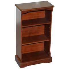 Lovely Small Dwarf Open Bookcase in Mahogany Finish with Sheraton Inlaid Top
