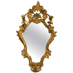 Lovely Small Italian Carved Giltwood Mirror