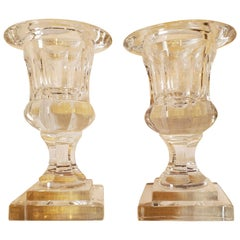 Lovely Small Pair of Crystal Urns