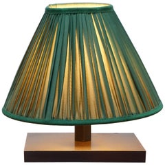 Lovely Small Table Lamp with Cast Metal Base and Green Shade Good Light Transfer