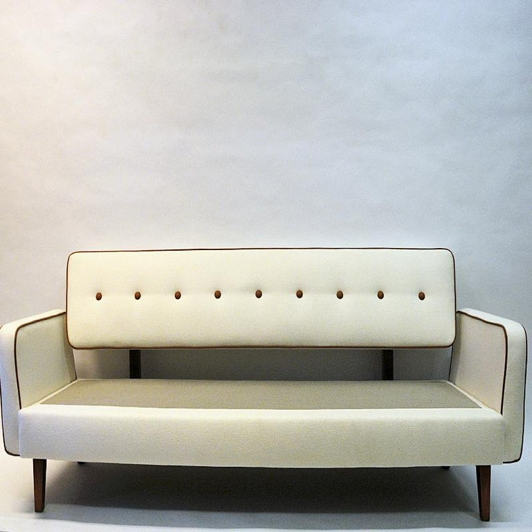 Scandinavian Modern Lovely Sofa and Daybed of White Wool by Ire Möbler, 1950s, Sweden For Sale